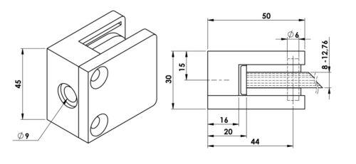 Edelstahlfinisch glashalter glasklemme rectangulaire en acier inoxydable optique-plat connecteur