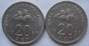 Second Series 20 sen coin 1997 2 pcs