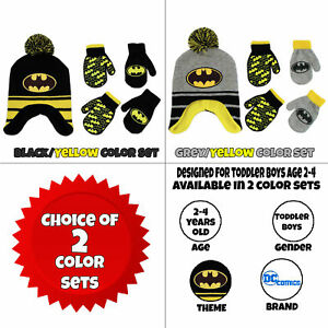 ebd266d565d Image is loading DC-Comics-Batman-Hat-and-2-Pair-Mittens-