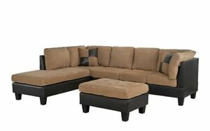 Details about 3-Piece Microfiber Faux Leather Sectional Sofa with  Reversible Chaise, Hazelnut