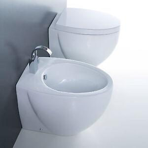 Sanitari filomuro pavimento design bagno moderno vaso bidet copri wc 55 cm ebay - Pavimento bagno moderno ...