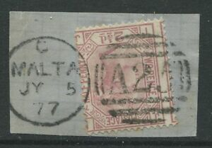 GB-Used-Abroad-1876-2-1-2d-Plate-17-IJ-on-piece-struck-by-a-Malta-numeral-A25
