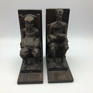 Antique-Carved-Wood-Pair-Bookends-Old-Men-Sitting-Vintage-B9