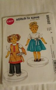 Oop-Mccalls-stitch-n-save-6492-18-034-doll-clothes-apron-top-skirt-pants-NEW