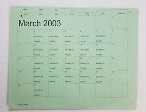 DAWSON-039-S-CREEK-set-used-paperwork-PRODUCTION-CALENDAR-schedule-page-Mar-2003