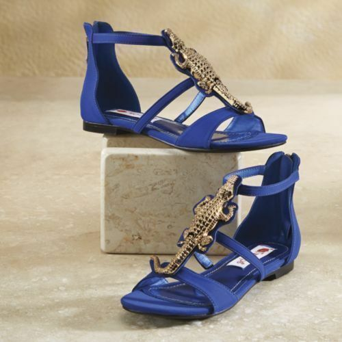 Two Lips Allie Blue Dress Alligator Sandals Sandal Shoes Summer Size 7 or 7 1//2