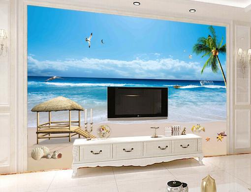 3D Ocean Plam 5011 Wallpaper Murals Wall Print Wallpaper Mural AJ WALL UK Kyra