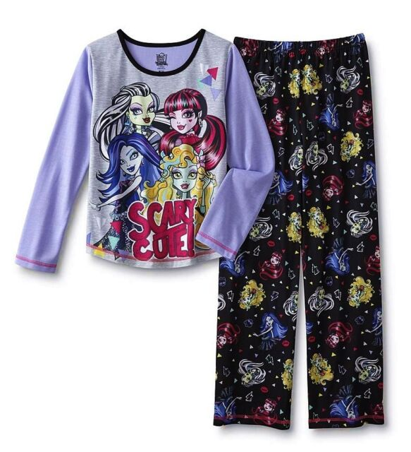 05554751b Monster High Pajamas Girls Size 14 16 XL 2 Piece Set Top shirt pants ...
