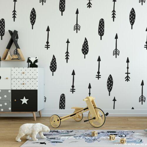 60x Scandinavian Arrows Trees Individual Kids Bedroom Wall Stickers Decal Decor
