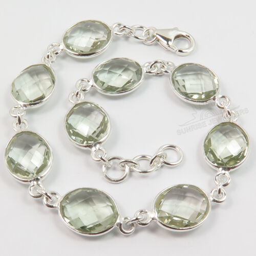 925 Sterling Silver Jewelry Natural GREEN AMETHYST Gemstones Women Bracelet NEW