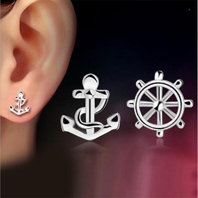 Fashion 925 Silver Pated Cute Asymmetric Ship Wheel & Anchor Studs Earrings Lady