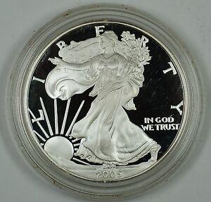 2005 Proof American Eagle Silver Dollar Coin 1 Troy Oz