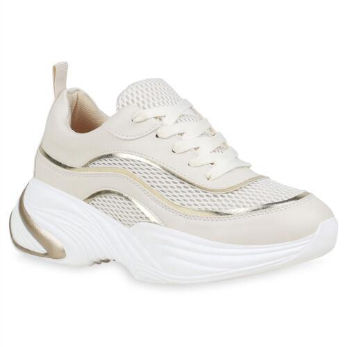 Damen Plateau Sneaker Metallic Chunky Turnschuhe Freizeit Schnürer 834203 Trendy
