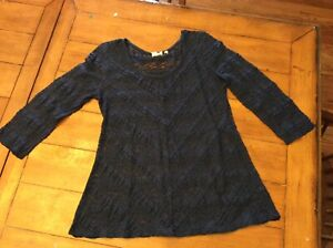 db6138f6b97315 Anthropologie Lilka Blue Colette Lace Pullover 3/4 Sleeves Ruffle M ...