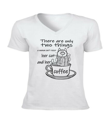 Woman Can/'t Resist Her Cat and Her Cat Coffee Men Unisex V-Neck Short T-Shirt