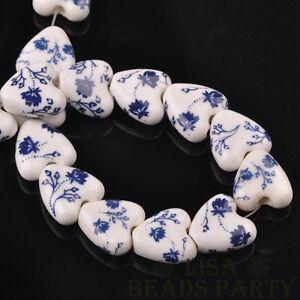 10pcs-14mm-Heart-Geramic-Loose-Spacer-Beads-Jewerly-Making-Deep-Blue-Flower