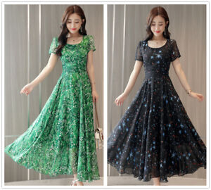 Flowers-Stars-A-Line-Chiffon-Short-Sleeves-Women-039-s-Slim-Long-Shift-Dress-S-3XL