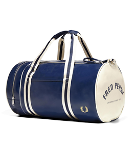 Image is loading Fred-Perry-Bags-Classic-Barrel-Bag-Navy-Ecru-