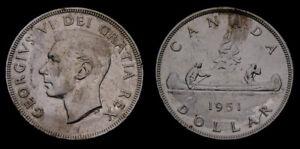 1951-Canada-Silver-1-One-Dollar-Piece-King-George-VI-SWL-EF