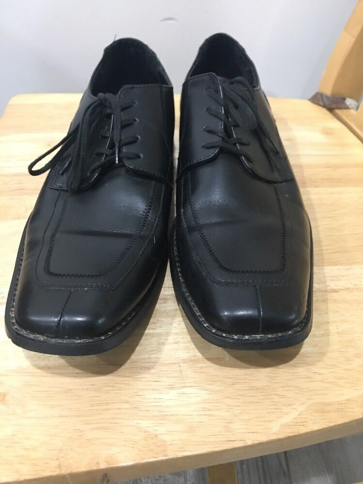 Kenneth cole reaction black leather dress shoes mens size 11 Square Toe