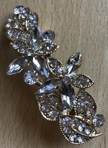 A Pretty Silver Metal And Diamanté Barrette Hair Clip