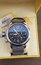 Invicta 18574 Men's 54mm Russian Diver Quartz Chrono Black Dial Leather Watch