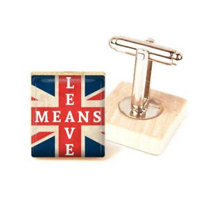 2734e971bd74 Brexit Cufflinks Union Jack Flag Leave means Leave British Cufflinks ...