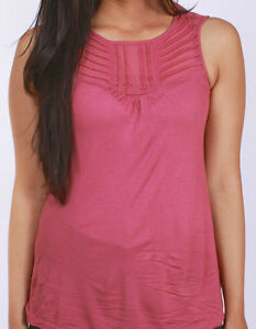 NEW-LADIES-EX-WAREHOUSE-SLEEVELESS-PINK-CASUAL-PLEATED-SUMMER-TOP-8-10-12-14