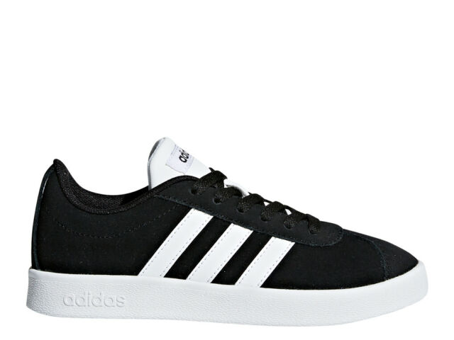 release info on later online retailer adidas VL Court 2.0 K Black Suede Athletic Kids Sport Shoes DB1827 Size 4