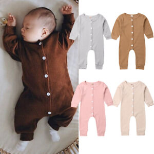 Newborn Toddler Baby Girl Boy Long Sleeve Romper Bodysuit Outfit Casual Jumpsuit