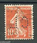 FRANCE 1907, timbre perforé 138, type SEMEUSE, oblitéré, PERFIN STAMP, LOT 003