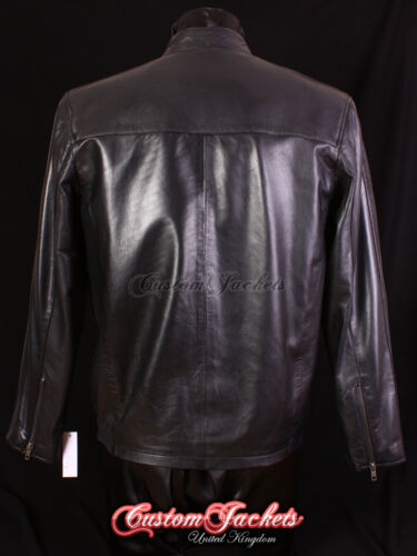 Men/'s SIMPLE Black Classic Nice Plain Casual Real Soft Leather Jacket 257