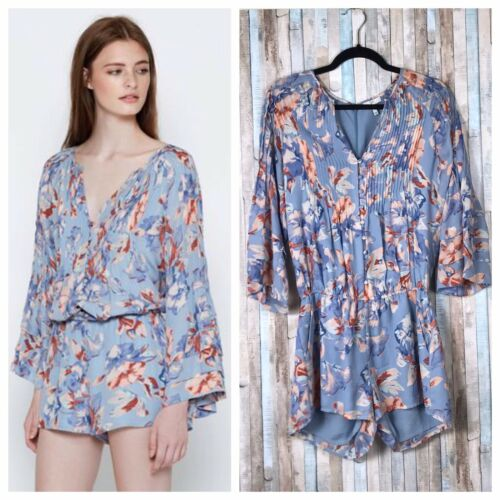 Mani Silk 100 Pleated Romper S Floral 398 Playsuit Blue Chiffon Joie Pintucked BOg8Z