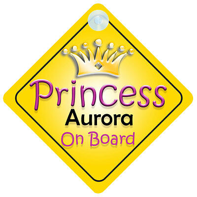 Princess Jessica On Board Personalised Girl Car Sign Child Gift 001
