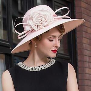 Hat Women/'s Kentucky Derby Church Wedding Noble Dress linen feather Sinamay hat
