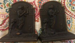HUBLEY-Circa-1925-Antique-Ladies-amp-Lyre-Cast-Iron-With-Bronze-Finish-Bookends