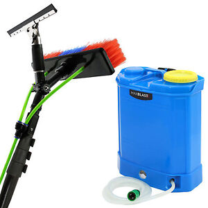 30L Water Tank Window Cleaning Trolley 20ft Telescopic Water Fed Cleaning Pole
