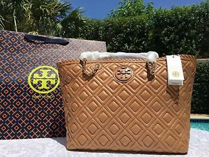0c680755947f TORY BURCH MARION QUILTED SMALL E W EAST WEST TOTE TIGERS EYE NWT ...