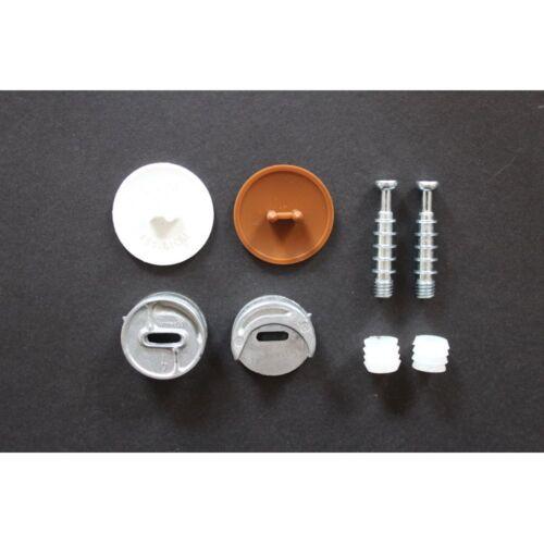 2x excenterbeschläge avec cache 15 mm et 25 mm blanc brun Meubles Connecteur