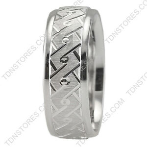 10k Solid White Gold Hand Carved Mens Womens Wedding Bands Rings