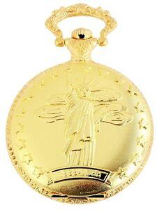 Taschenuhr-Weiss-Gold-Freiheitsstatue-New-York-Quarz-D-50742408275350