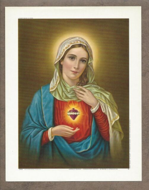 Catholic Print Picture IMMACULATE HEART of MARY 6 1/2 x 8 1/4