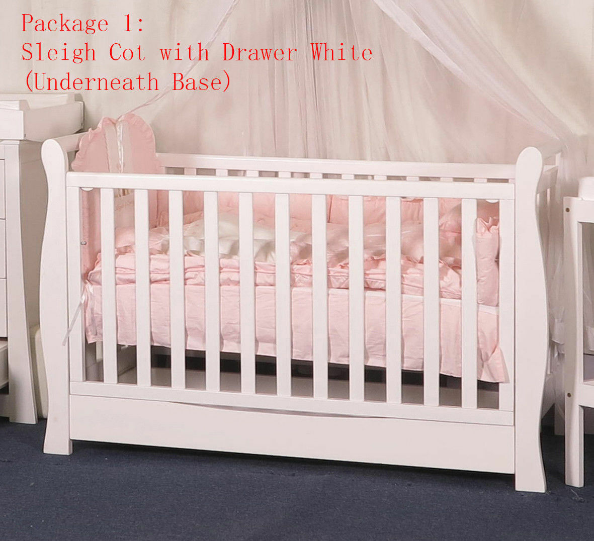 - 3 IN 1 Sleigh Cot With Drawer Crib Baby Bed Toddle Bed Wheel
