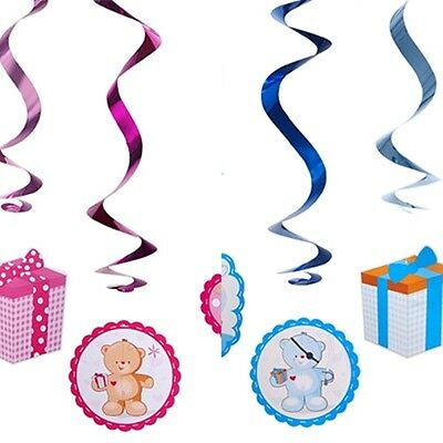 Hängespiralen Set 5 Stück BabyTaufe Geburt Dekoration Girlande Spirale blau rosa