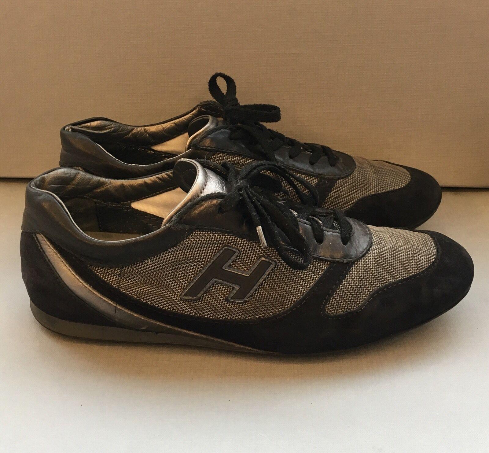 Hogan Gamuza Para Hombre Negro Zapatillas en con inserciones de Tela de alta tecnología Talla 8UK