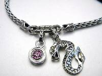 John Hardy Naga 18k Gold/silver Dragon & Round Charm Bracelet Pink Sapphire