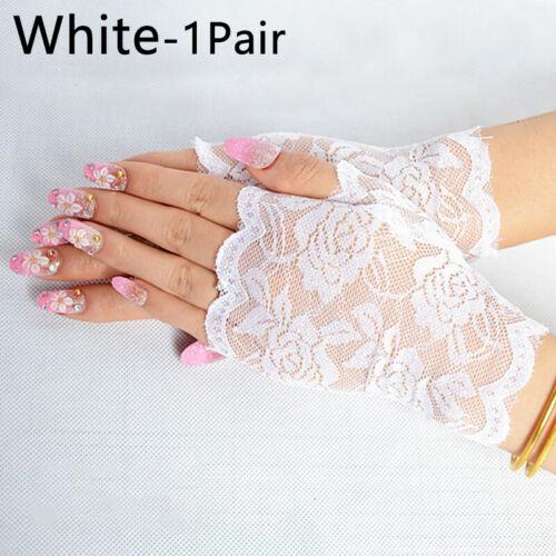 Summer Women Lace Gloves Sun Protection Fingerless Driving Wedding Bride Gloves