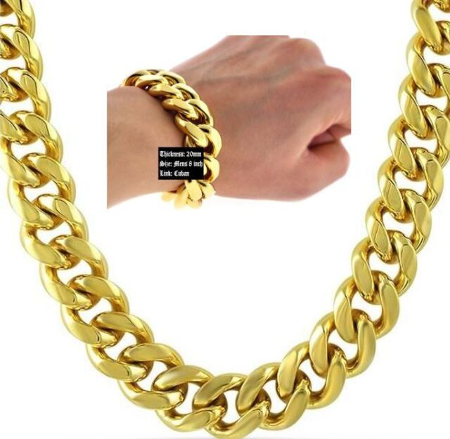 6911b1f6c8421 Hip Hop 14k Gold Plated 20mm Cuban Link 30