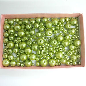 200 Tamaños Surtidos 4mm 6mm 8mm 10mm Glass Perlas Peridoto