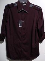 Murano Liquid Luxury Bordeaux Epaulettes Roll Tab Sleeve Shirt L, Xl $79.50